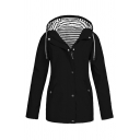 Fashion Girls' Long Sleeve Hooded Drawstring Button Zipper Front Pockets Side Stripe Printed Lined Relaxed Plain Trench Coat