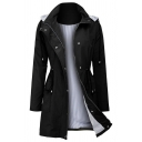Fashion Street Women's Long Sleeve Hooded Zipper Button Down Drawstring Stripe Liner Loose Mid Plain Trench Coat