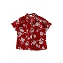 Maroon Basic Short Sleeve Notch Collar Button Down Floral Printed Relaxed Shirt for Women