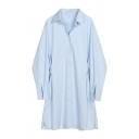 Basic Plain Balloon Sleeve Lapel Neck Button Down Midi Baggy Swing Shirt Dress for Female