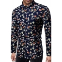 New Stylish Floral and Bird Printed Long Sleeve Button Up Slim Fit Dark Blue Shirt