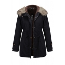 Casual Warm Long Sleeve Hooded Zip Button Front Drawstring Fuzzy Trim Relaxed Fit Plain Parka Coat for Women