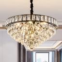 Black Tapered Chandelier Light Fixture Traditional Teardrop Crystal 6 Heads Bedroom Hanging Ceiling Light
