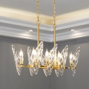 8 Heads Candle Chandelier Lighting Postmodern Gold Lattice Crystal Ceiling Light Fixture