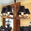 Black Starburst Chandelier Lighting Rustic 6 Bulbs Resin Living Room Suspension Pendant Light