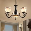 Black Dome Chandelier Light Fixture Tiffany 3/5/9 Bulbs Hand Rolled Art Glass Pendant Light Kit for Bedroom