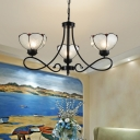 Tiffany-Style Flower Chandelier Light Fixture 3/5/6 Lights Seeded Glass Suspension Lamp in Black