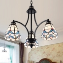 Flower Hanging Chandelier Tiffany-Style Handcrafted Stained Glass 3/5/6 Heads Black Drop Lamp