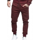 Mens Active Solid Color Drawstring Waist Sweatpants Relaxed Fit Cotton Pants