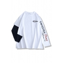 Cool Street Girls Long Sleeve Crew Neck Letter SWISSTEX DIRECT Graphic Contrasted Patched Oversize T-Shirt