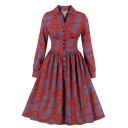 Vintage Red Long Sleeve Lapel Neck Button Down Floral Pattern Midi Pleated Flared Dress for Women