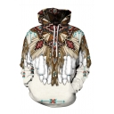 Indian Ethnic Style Tribal Totem 3D Printed Long Sleeve Relaxed Fit Vintage Hoodie