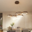 Metal Circle Chandelier Lighting Modernism Coffee LED Pendant Light Fixture in Warm/White Light