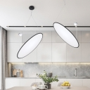 Round Acrylic Hanging Ceiling Light Simple Style Black LED Pendant Chandelier for Dinging Room