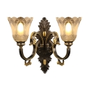 Flower Living Room Sconce Light Rustic White Glass 2 Heads Black Wall Lighting Fixture