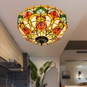 Baroque Dome Ceiling Light Fixture 3 Bulbs Stained Glass Flush Mount Lighting in Bronze for Kitchen