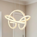 Contemporary Twisted Pendant Lamp Metal Integrated Led Chandelier Lighting for Dining Room