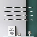 4 Tiers Linear Hanging Lamp Contemporary LED Metal Chandelier Lighting in Black