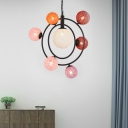 Orbicular Chandelier Light with Handmade Global Shade Contemporary Metal Hanging Light