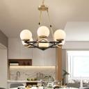 Star Chandelier Lighting Fixture Modern Opal Glass 6/8 Lights Brass Hanging Ceiling Light