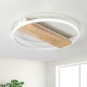 Contemporary Circle Wood Flushmount Lighting 16