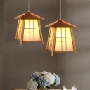 Bamboo House Pendant Light Chinese 1 Bulb Wood Suspended Lighting Fixture for Dining Room
