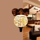 Globe Sconce Baroque Stylish Stained Art Glass 1 Light White/Pink/Yellow Wall Mount Light Fixture with Elephant Head Deco
