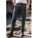 Mens Simple Plain Zipper Fly Straight Fit Casual Pants Outdoor Hiking Climbing Trousers