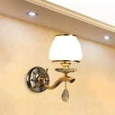 Traditionalism Tapered Wall Mount Lamp 1/2 Heads LED Crystal Wall Sconce in White