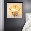 Clear Ribbed Glass Shell Wall Lamp Traditional 1 Head Bedroom LED Sconce Light Fixture