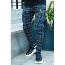 Navy Blue Leisure Checked Pattern Zipper Decoration Skinny Fit Pencil Pants