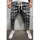 Popular Checked Printed Drawstring Waist Stripe Patchwork Casual Pencil Pants