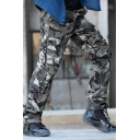 Popular Camo Print Flap Pocket Solid Color Straight Fit Cotton Trousers Military Pants