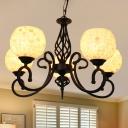 Globe Shell Chandelier Pendant Light Mediterranean 3/5/6 Lights Beige Suspension Lighting for Living Room