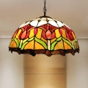 Cut Glass Yellow Pendant Chandelier Flower 3 Lights Mediterranean Hanging Light Fixture for Living Room
