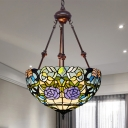 Bowl Chandelier Light Baroque Multicolored Stained Glass 2 Heads Blue/Yellow/Red Suspension Pendant for Kitchen