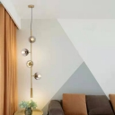 Contemporary 4 Heads Ceiling Chandelier Gold Ball Hanging Pendant Light with Smoke Glass Shade