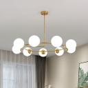 Ball Opal Frosted Glass Chandelier Lighting Modernism 9 Heads Gold Hanging Light Fixture