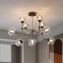 Amber Glass Globe Semi Flush Mount Modernism 9/13 Heads Ceiling Light Fixture in Brass for Living Room