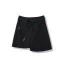 Black Cool High Waist Button Detail Patched Asymmetric Short Pleated A-Line Skirt for Girls