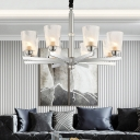 Chrome Cup Chandelier Lamp Contemporary 8 Heads Ribbed Glass Ceiling Hanging Light