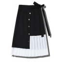 Cute Pretty Girls' Bow Tie Waist Button Front Contrasted Panel Pleated Long A-Line Skirt in Black