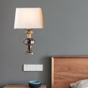 1 Light Sconce Light Fixture Classic Trapezoid Fabric Wall Mounted Lamp in White for Bedroom