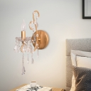 1 Light Crystal Wall Mounted Lighting Minimalist Silver/Gold Candle Bedroom Sconce Light Fixture