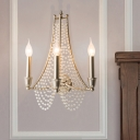 2/3 Lights Wall Mount Lamp Traditional Beaded Crystal Sconce Light Fixture in Brass for Bedroom