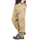 Mens New Trendy Plain Zip Fly Multi Pockets Straight Fit Boxy Cargo Pants