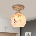 Globe Flush Mount Light Victorian Stained Art Glass 1 Light Red/Blue/Light Purple Ceiling Fixture for Corridor