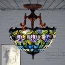 3 Lights Ceiling Flush Mount Victorian Blossom Red/Green Hand Cut Glass Semi Flush Light for Living Room