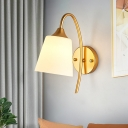 1 Head Tapered Wall Lighting Contemporary White Glass Sconce Light Fixture in Gold
