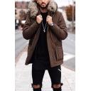 Mens Stylish Plain Long Sleeve Fur Trimmed Hood Single Breasted Longline Parka Coat